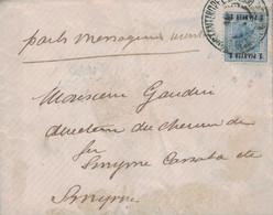 """TURQUIE - CONSTANTINOPEL - LEVANT AUTRICHIEN - LETTRE POUR SMYRNE - MANUSCRIT """"PAR MESSAGERIES MARITIMES"""" EN 1904. - Eastern Austria"""
