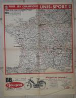 ITINERAIRE DU TOUR DE FRANCE CYCLISTE  1959.UNIS SPORT. LE MIROIR DES SPORTS. PUB. B.B PEUGEOT GRIFFON. - Posters