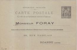 "FRANCE : ENTIER POSTAL . 10 Cts  . TYPE SAGE . CP . PERFORE . "" EF FORAY 38 RUE RABELAY ROANNE "" . 1892 . - Cartoline Postali E Su Commissione Privata TSC (ante 1995)"