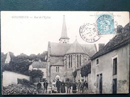 21 ,colombier ,la Rue Et L'église Et Ses Habitants  En 1905 - Other Municipalities