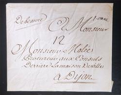 Lettre De Beaune à Dijon XVIII° Non Daté Pas De Courrier à L'interieur - Manoscritti