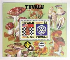 Tuvalu 1986 Anniversaries Scouts Chess Rotary Mushrooms Minisheet MNH - Funghi