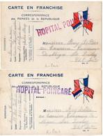 'Hôpital Poincarré' (Paris) - Lot De 2 Cartes Avec Griffe Rouge Et Violette - WW I
