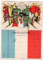 Carte-lettre De Franchise Militaire Drapeau Tricolore, Coq - WW I