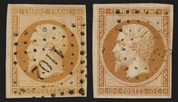 France N°13A Et 13B, Les 2 Types, 10c Bistre, Oblitérés - TB - 1853-1860 Napoleone III