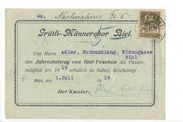 22147 - Bienne Grütli-Männerchor Biel Nachnahme 28.06.1919 - Covers & Documents