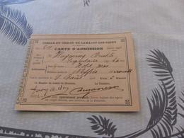 222 - Cercle Du Casino De Lamalou Les Bains Carte D'admission 1908 - Documents Historiques