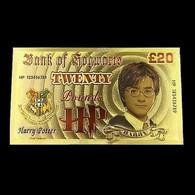 1 Billet Plaqué OR ( GOLD Plated Banknote ) - Harry Potter Bank Of Hogwarts - Specimen