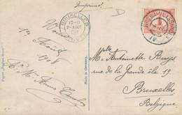 Nederland - 1908 - 1 Cent Cijfer Op Ansicht Van GR Treinstempel BREDA-VLISSINGEN / IV Naar Brussel / België - Poststempel