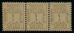 Palestine 1923 Postage Dues 1m Yellow-brown STRIP OF 3 MLH * Orig. Gum, Gum Bend Otherwise Fault-free, SG D1, Cat. £78+ - Sonstige