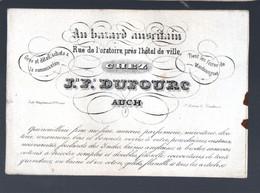 Auch( 32 Gers)  Carte Commerciale Ancienne DUFOURC Au Bazar Auscitain  (PPP30403) - Publicidad