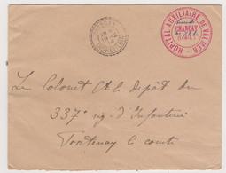 Lettre Guerre Ww1 1914 Franchise Militaire Cachet Hôpital De Valmer, Chançay Indre Et Loire - Bénévole N°71 Bis - WW I