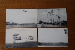 Lot De 4 Cartes Postales Anciennes Avion, L Aéroplane Goupy,  Lyon Aviation, Garros - Autres