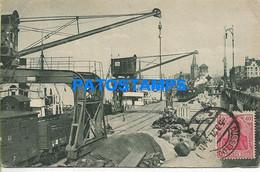 165359 GERMANY DÜSSELDORF VIEW PORT SHIP & TRAIN CIRCULATED TO ARGENTINA POSTAL POSTCARD - Non Classificati