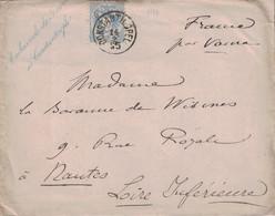 TURQUIE - CONSTANTINOPEL - LEVANT AUTRICHIEN - AMBASSADE DE FRANCE A CONSTANTINOPLE (CURSIVE BLEU) - 14-2-1885 -  VERSO - Eastern Austria