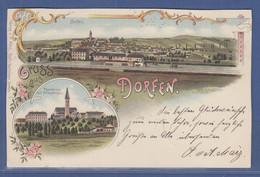 AK Gruss Aus Dorfen Ansicht Mit Bahnlinie, Pfarrkirche , Gelaufen 1897 - Unclassified