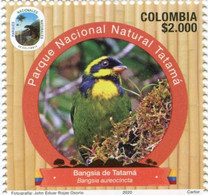 Lote 2020-15.1, Colombia, 2020, Sello, Stamp, Natural Park, IV Issue, Bangsia De Tatama, Bird - Colombia