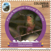 Lote 2020-6.2, Colombia, 2020, Sello, Stamp, Natural Parks II Issue, Bird, Ave Inca Ventrivioleta - Colombia