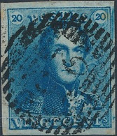 [O SUP] N° 2Ab, 20c Bleu Intense Avec Marges Maximas - Obl Centrale 'P23' Bruges. LUXE - 1849 Epaulettes