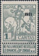 [** SUP] N° 92, 1c+(1c) Gris - Cote: 155€ - 1910-1911 Caritas