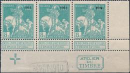 [** SUP] N° 97-cu, Bande De 3, Le Timbre 3 Avec Surcharge Partiellement Doublée - 1910-1911 Caritas
