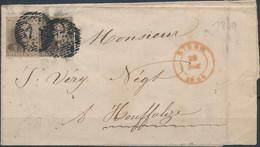 [Document TB] N° 1 Margé Et 1 Autre Effleuré Soit 2 Ex Sur Lettre De Liège 'P73' Du 29 Nov 1849 Vers Houffalize - 1849 Epaulettes