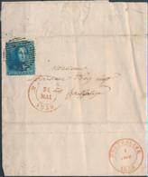 [Document TB] N° 2, Margé (filet Existant Tout Autour) Sur Lettre De Marche 'P79' Du 31 Mai 1850 Vers Houffalize - 1849 Epaulettes