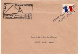 LMM14B - FM DRAPEAU SUR LETTRE EMBARQUEE SUR PORTE HELICOPTERE JEANNE D'ARC MARS 1965 - Naval Post