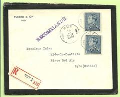 430 Op Rouw-brief   (lettre De Deuil) Aangetekend, Stempel HUY 2C Naar Nyon (Suisse) (B9222 - 1936-1951 Poortman