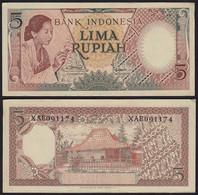 Indonesien - Indonesia 5 Rupiah Banknote 1958 Pick 55 VF (3)    (21162 - Altri – Asia