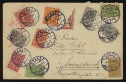 Austria 1920 Cover From Graz To Innsbruck Bearing A Multi-coloured Franking Including A BISECT OF MINR. 252, Interesting - Briefe U. Dokumente