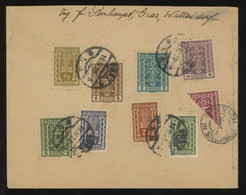 Austria 1923 Reg. Cover From Graz To Stainach Bearing A Multi-coloured Franking Including A BISECT OF MINR. 367 - Briefe U. Dokumente