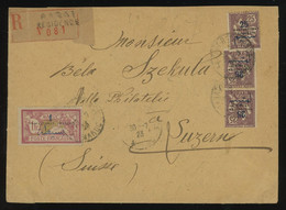 Maroc 1923 Reg. Cover From Rabat To Switzerland Franked With 25c (x3) + 1fr All Ovptd. PROTECTORAT FRANCAIS (Yv. 45+51) - Briefe U. Dokumente