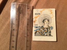 1931 Calendrier De Poche Illustrateur Édouard Bernard, Femme Cirage éclipse - Small : 1921-40