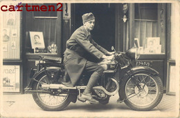 CARTE PHOTO : MILITAIRE SUR SA MOTO TERROT MOTOBIKE MOTOR 1938 - Moto