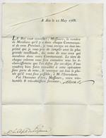 LETTRE DIX SOLS AU PORTEURS AIX 21 MAY 1768 TEXTE LE ROI VEUT CONNATRE LE NOMBRE DE MENDIANTS....... POUR PELISSANE - 1701-1800: Precursori XVIII