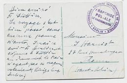 MEMEL CARTE + CACHET VIOLET COMMISSION MILITAIRE INTERALLIEE DE CONTROLE BERLIN FRANCHISE POSTALE LE VAGUEMESTRE - Military Postmarks From 1900 (out Of Wars Periods)