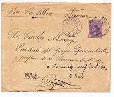 Lettre 1902 Valparaiso Chili Chile Via Cordillera Bourgneuf-Val D'Or Côte D'Or Grupo Esperantista Esperanto - Chile