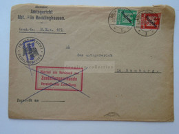 D181941  Germany Cover  Cancel 1927 Recklinghausen   PR. Amstgericht  Sent To Amstgerericht Hamburg - Covers & Documents