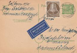 Allemagne Berlin Entier Postal Par Avion 1953 - Postkaarten - Gebruikt