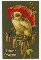 Joyeuses Pâques. Poussin Sous Un Parapluie.carte Gaufrée,embossed.chick. - Pasqua