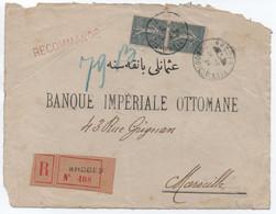 Rare Devant (fatigué) De Lettre Recommandée RHODES TURQUIE D'ASIE 1924 Paire 50c SEMEUSE Lignée > Marseille France - Lettres & Documents