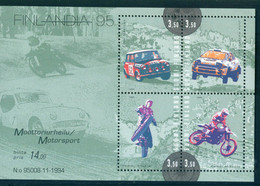Finland 1995 Auto Moto Sport Motorsport Car Motorcycle Bl. S/S MNH - Unused Stamps