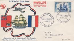 Enveloppe   FDC   1er   Jour    FRANCE   -   CANADA      LA  ROCHELLE    1955 - 1950-1959