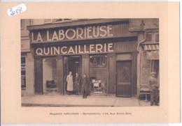TROYES- DEVANTURE DE LA QUINCAILLERIE DE LA LABORIEUSE- RUE E. ZOLA- ISSUE DE CARNET- 130 X 188 MM - Advertising