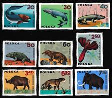 Poland Dinosaurs Mammoth Bird Prehistoric Animals 9v 1966 MNH SG#1639-1647 CV£11.30 - Ongebruikt