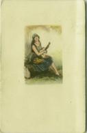 MAUZAN SIGNED 1920s POSTCARD - WOMAN & GUITAR  (BG1464) - Mauzan, L.A.