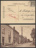 """Carte Postale - Genval-Les-eaux : La Rue Neuve + Cremerie M. Voets & Plaque émaillée """"Chicorée Trappiste"""" - Rixensart"""
