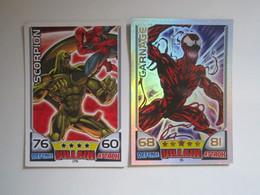 2 Cartes 2011 Topps Marvel Universe HERO ATTAX Villain - SCORPION - CARNAGE - Marvel