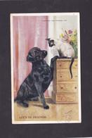 Dog Card - Labrador & Siamese Cat.   Artist Drawn. - Perros